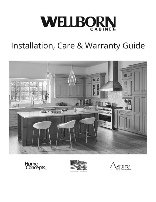 Link to Installation, Care & Warranty Guide - Info about our product, Pre-installation and Installation of Cabinets, vanities, Fillers, Islands, Drawer Fronts, Adjustments, Repair and Maintenance
