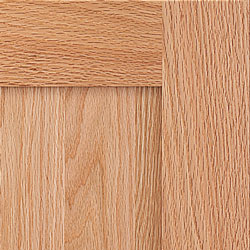 Prestige Oak corner showing straighter grains than most cabinet lines, and our process minimizes the wide grains and reduces the widths of cathedrals in oak.