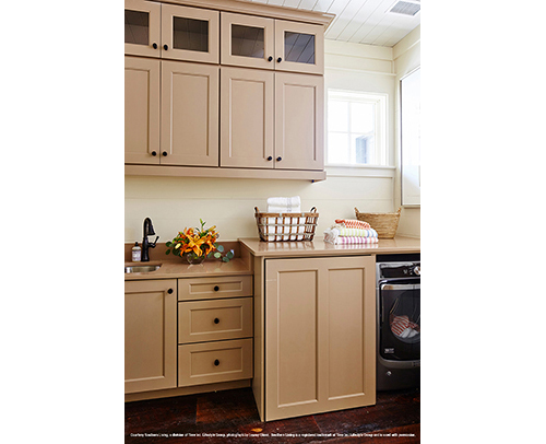 Bishop MDF CDF Sandroom, Laundry room cabinetry with a ColorInspire finish, Dormer Brown SW 7521