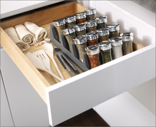 CABANA KITCHEN<br> A superior spice tray is a great answer to keeping spices reachable and tidy.