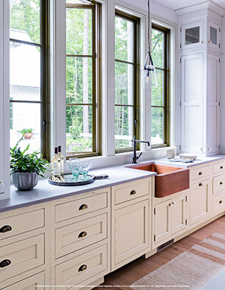 Cream and gray white Back Kitchen cabinetry