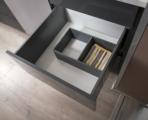 Superior Deep Drawer Divider Insert installed in center the of a deep cabinet drawer