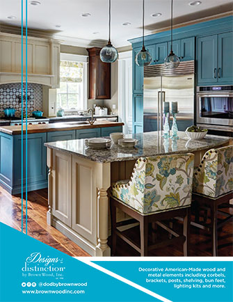 Blue and off-white kitchen with beautiful legs, feet, posts, corbels, onlays and moulding Image