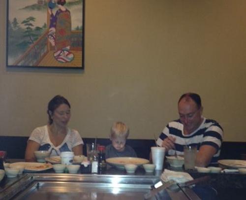 ENJOYING DINNER AT FUJI