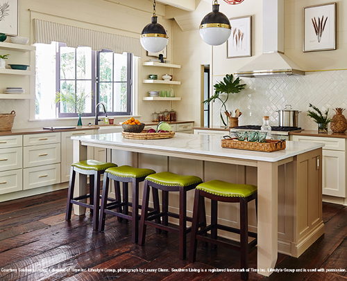 Divinity, Off-white Painted Base and Wall Cabinets and Dormer Brown Kitchen Island with Seating