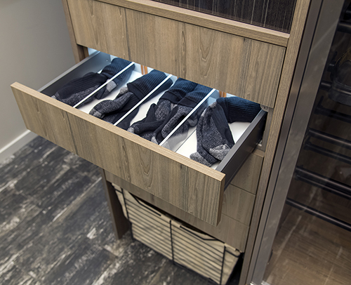 Drawer Dividers, shown with socks inside