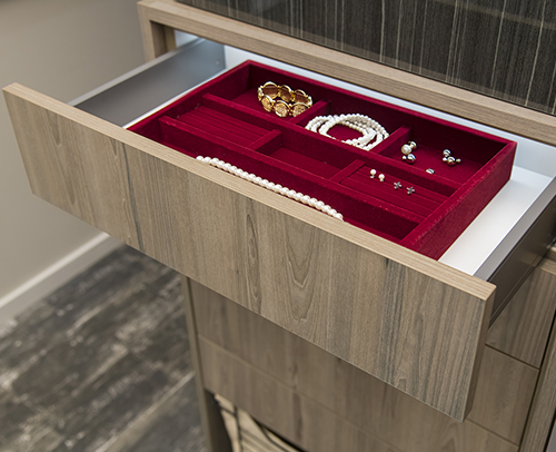Jewelry tray installed in a Touch to Open cabinet Drawer