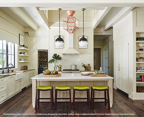 Kitchen - Southern Living Idea House, Kitchen Island with seating, Winslow Maple CDF painted in Dormer Brown