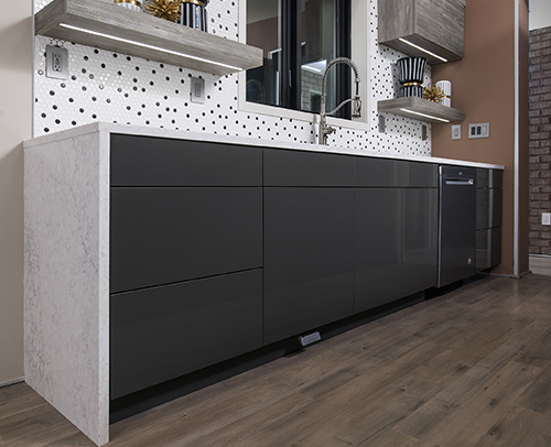 Midtown, Gloss Graphite Laminate base cabinets shown with countertop extending down the sides