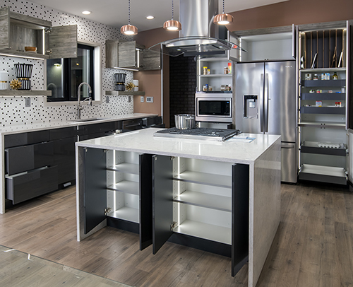 Island cabinets are Midtown, Gloss Graphite with a Matching Edge and a Gray interior.