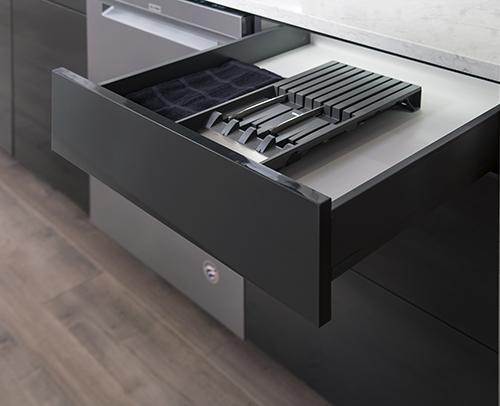 Knife Block Organizer Insert installed in top kitchen drawer