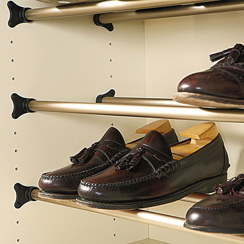Shoe rail holding mens shoes