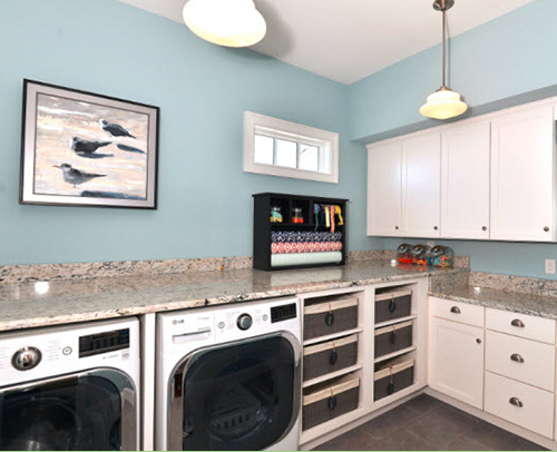 LAUNDRY ROOM - SANDIA MAPLE, GLACIER with SLAB DRAWER FRONT OPTIONS