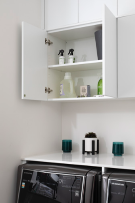 LAUNDRY ROOM<br> These cabinets are great for putting all cleaning supplies in an orderly fashion.