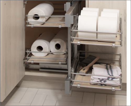 LAUNDRY ROOM<br> Functional Shelves are great for corner storage cabinets. It allows for easy access.