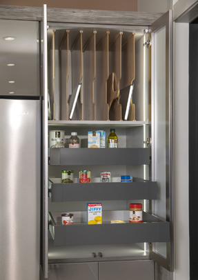 Tall kitchen cabinet open with Tray Dividers and Soft Close Sliding Shelves installed