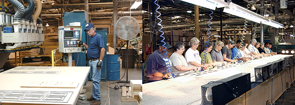 Made in USA kitchen cabinet production