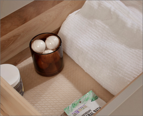 MASTER BATH<br> This drawer slip resistant mat keeps everything in its place all while protecting the drawer from wear and tear.