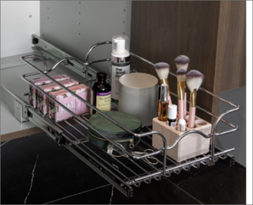 MASTER BATH<br> This sink basket pullout is excellent for sorting bathroom essentials in an orderly fashion.