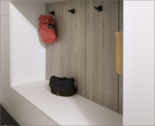 MUD ROOM<br> Mudrooms need organization and order too; with this finish back panel it allows a hanging option for backpacks and more.