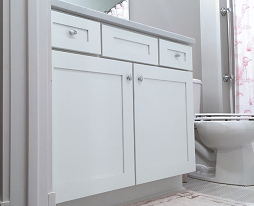 2nd bathroom features Hanover shaker white cabinetry with classic drawer fronts