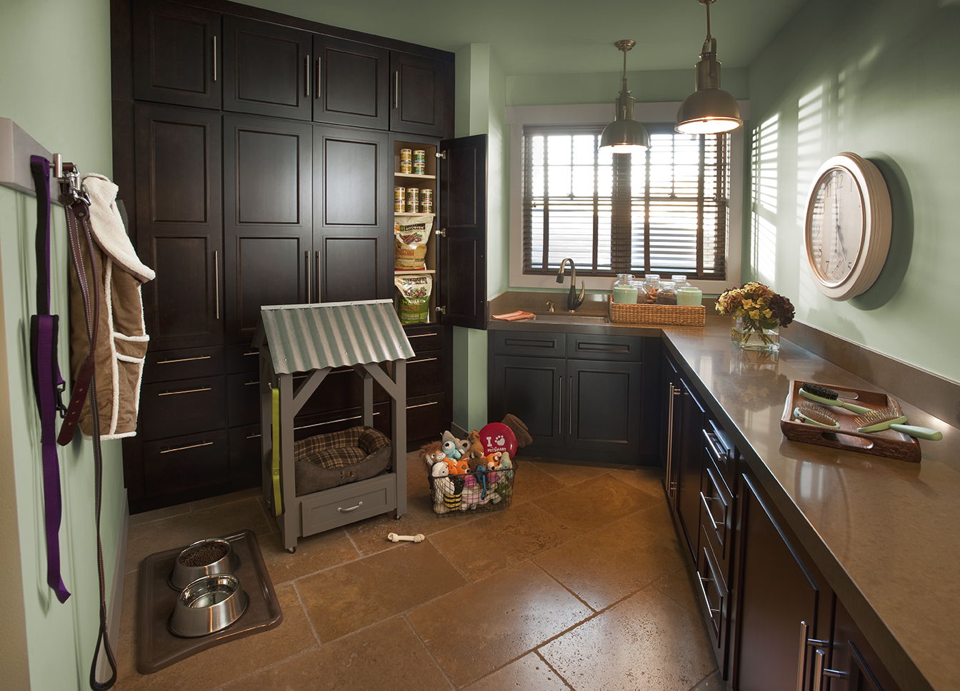 Laundry Room Pet Suite with Stained Wood Cabinets-Full Size