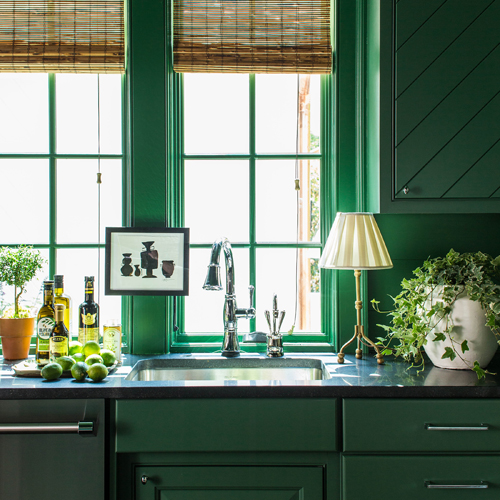 KITCHEN - DAVENPORT  SQUARE MAPLE INSET, BEADED SHERWIN WILLIAMS EVERGREENS #SW 6447