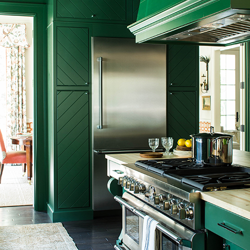 KITCHEN - DAVENPORT SQUARE MAPLE, SHERWIN WILLIAMS, EVERGREENS #SW 6447