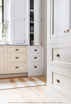 Sandstone Slate and Oyster White Java cabinets
