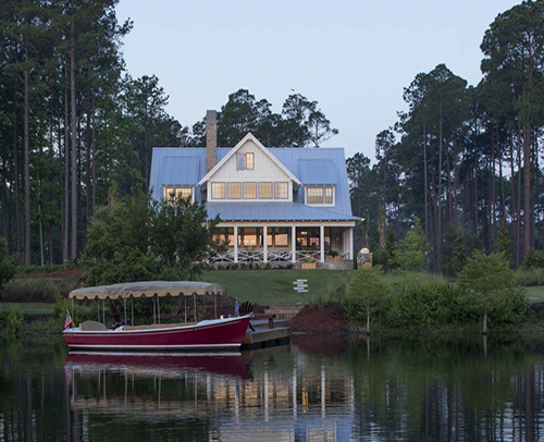 2014 SOUTHERN LIVING IDEA HOUSE<br>PALMETTO BLUFF, SC. BACK EXTERIOR, LAKE VIEW