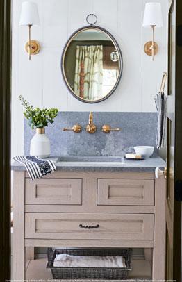 Upton Sandia Inset vanity in Oak, Shale Mocha