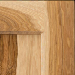 Hickory corner showing distinctive contrasting colors from light to dark and strong grain characteristics.