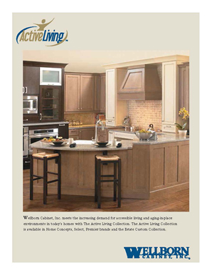Two tone wood stained accessible living and aging-in-place kitchen - one of several plans
