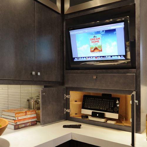 Kitchen storage hutch for TV