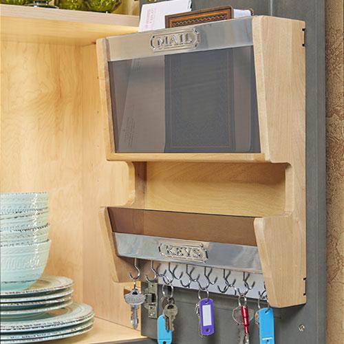 Wooden mail key storage rack