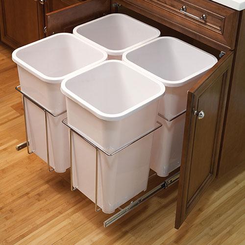 Sliding drawer insert for trashcans
