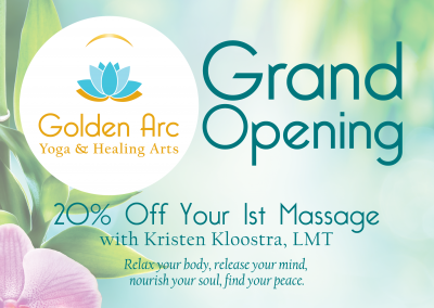 Golden Arc Yoga & Healing Arts: Postcard/Coupon