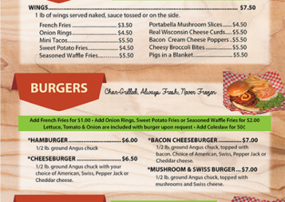 Connell's Cedar Shack: Menu
