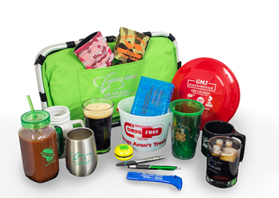 Various Customers: Cooler, Can Koozies, Mugs, Glasses, Cups, Bucket, Pill Case, Frisbee, Yo-yo, Pens, Tools