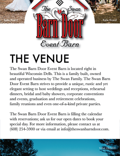 Swan Barn Door Event Barn: Rack Card