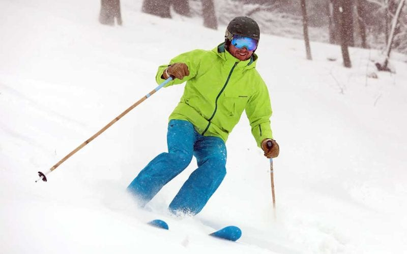 Skier at Seven Springs on a snowy day