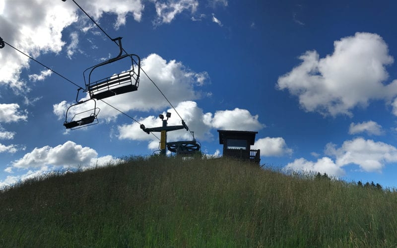 View of chairlift from the slopes
