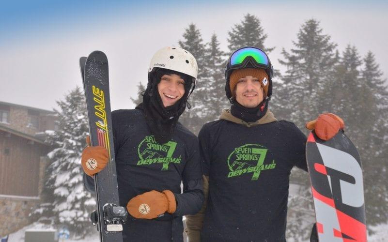 Skier and Snowboarder wearing their Dewsdays T-Shirt