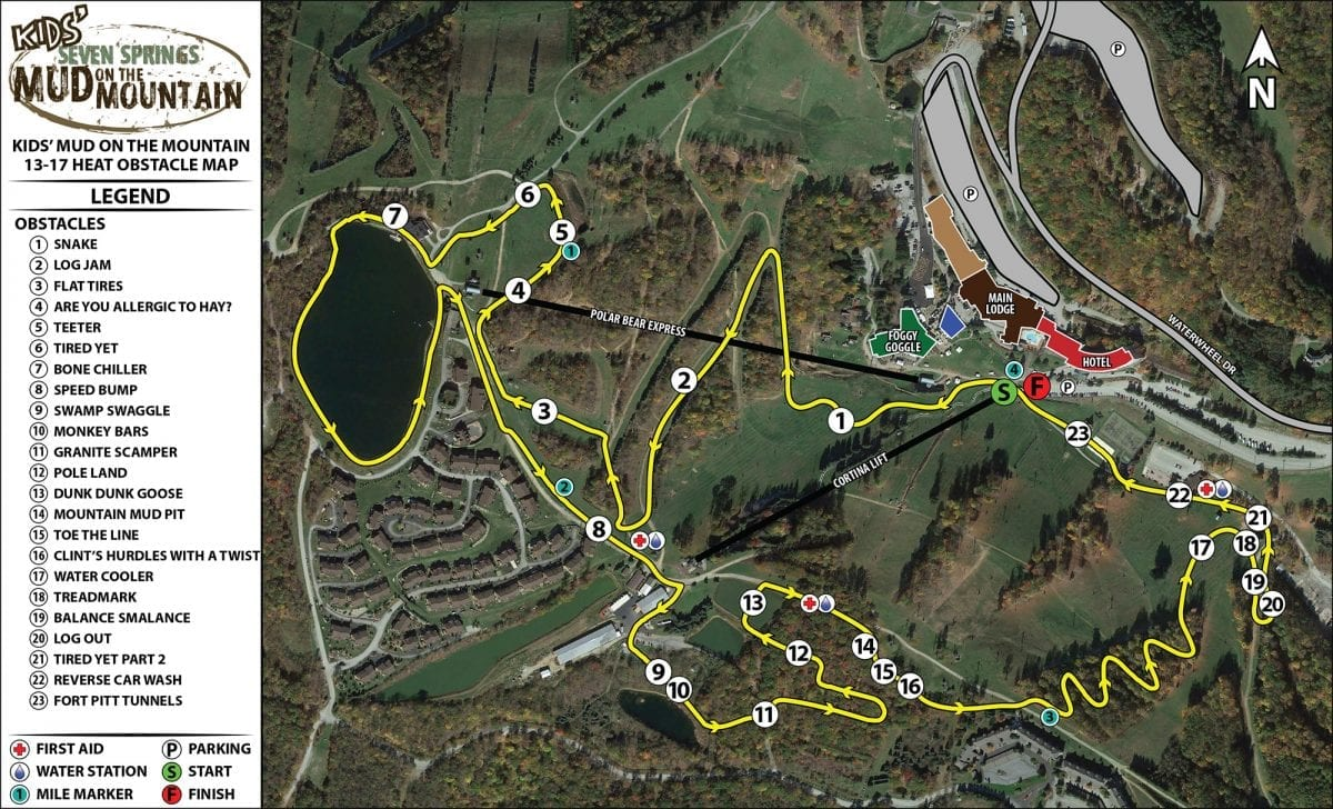 Ages 13-17 Mud on the Mountain Course Map