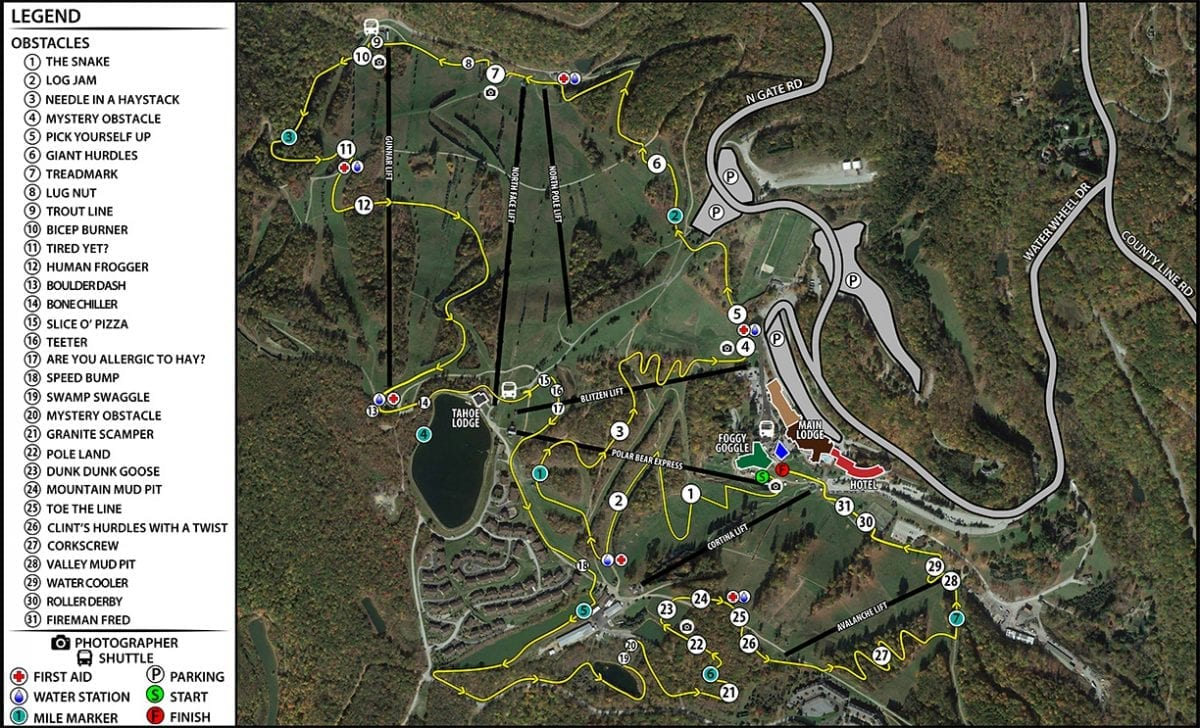 2019 Mud on the Mountain Course Map