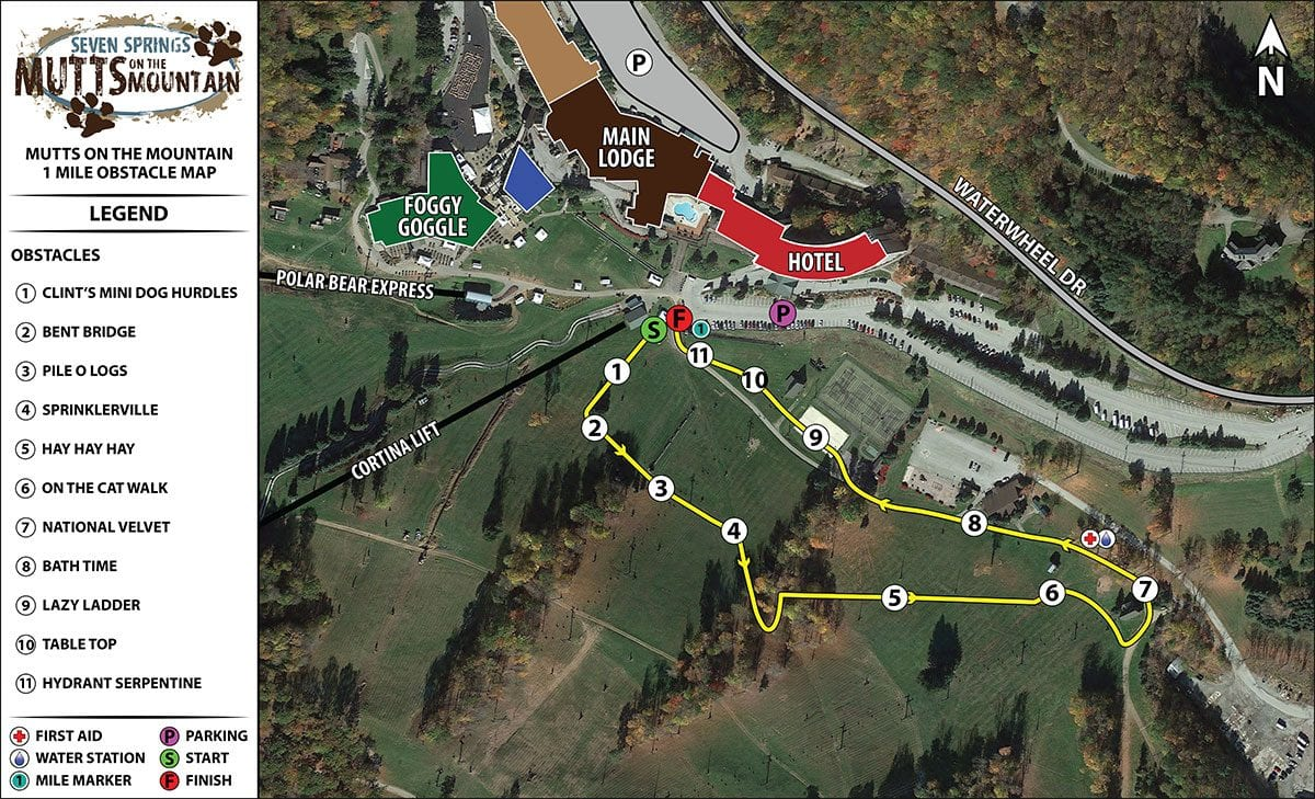 Mutts on the Mountain 1-Mile Course Map