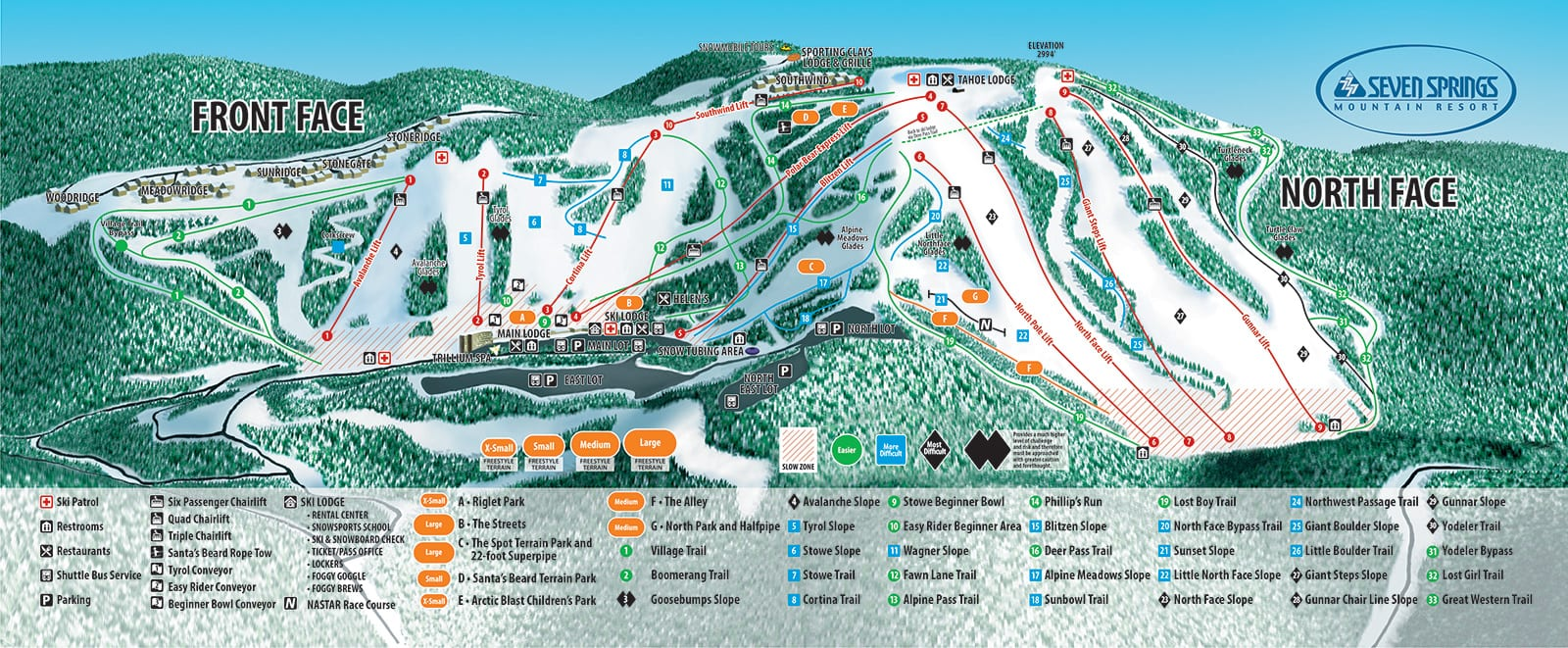 Skiing & Snowboarding Trail Map
