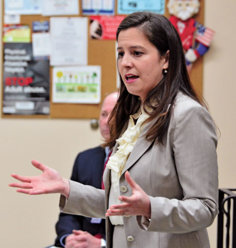 """Congresswoman Elise Stefanik gestures as she answers a question from a member of the audience during a """"Coffee with Your Congresswoman"""" April 24 at the Shirley J. Luck Senior Citizens Center in Johnstown. (Photo — Bill Trojan, The Leader-Herald)"""