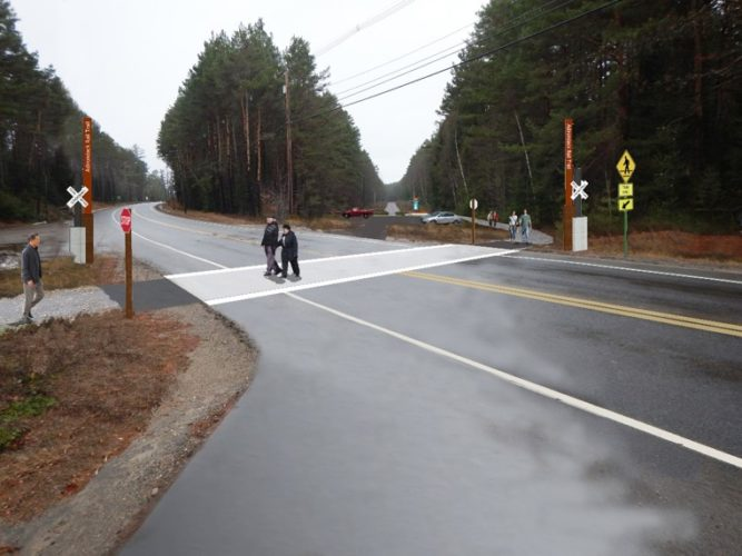 This rendering shows what the Adirondack Rail Trail, intended to replace railroad tracks, would look like crossing state Route 86 on the east side of Saranac Lake. Rich Shapiro, a Saranac Lake village trustee and member of a state-overseen group planning the trail, shared this image in advance of information sessions from 5:30 to 7:30 p.m. Monday and Tuesday in the Cantwell Community Room of the Saranac Lake Free Library, 109 Main St., Saranac Lake. (Image provided)