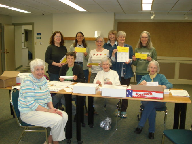 VOLUNTEERS PREPARING MEMBERSHIP MAILING — Standing from left are, Donna Fulkerson, Judy Rush, Rosalie Fontana, Maureen Sayles (Committee Chair), Marcia Gilbert, Margaret Worden (Membership Committee). Seated from left are Anne Boutilier, Phyllis Magnus, Joy Harvey and Shirley Morgan. Pictured are the morning volunteers who helped to assemble the May Membership Appeal. Afternoon volunteers were Kay Best, Ellen Beideck, Margot Gold (Membership Committee), Susan Mitchell, Susan Moody, Donna Walsh and Brian O'Connor. The board thanks these volunteers, committee members Diane Peterson and Audrey Schwartzberg, and everyone who has contributed so far to the annual Membership Campaign, which began May 1. (Photo provided)